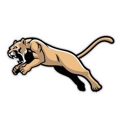 jumping cougar mascot vector image vector image