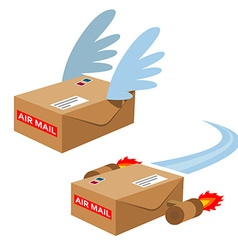 Set of flying mailboxes vector image vector image
