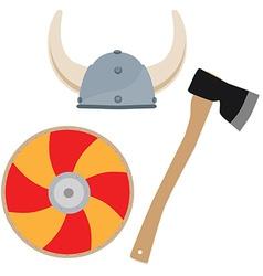 Viking hat shield and axe vector image