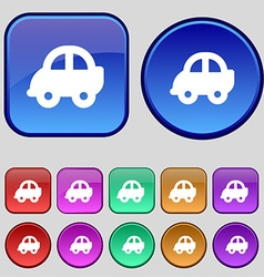 Auto icon sign A set of twelve vintage buttons for vector image vector image
