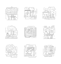 Chemistry science detailed line icons vector image vector image