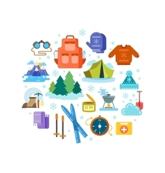 Circle composition of winter hiking flat icons vector