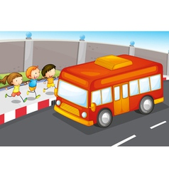 Kids and bus vector image