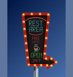 Retro arrow golden light banner with the rest area vector