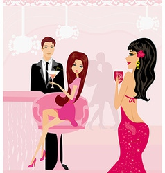 Young couple flirt and drink champagne in the club vector image vector image