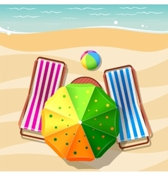 Beach chair and umbrella top view vector image vector image
