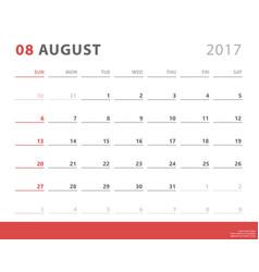 calendar planner 2017 august week starts sunday vector image