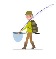 cartoon man fisherman fishing vacation vector image