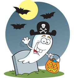 Cartoon Trick or Treat Ghost vector image