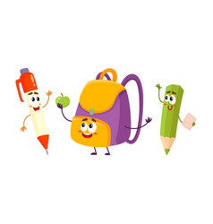 Funny smiling pen pencil backpack characters vector