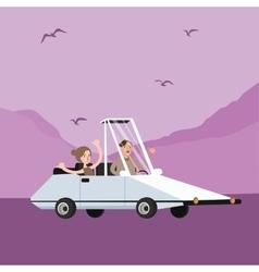 man woman couple riding funny weird shaped car vector image vector image