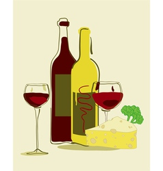 red wine and cheese vector image vector image