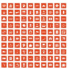 100 paying money icons set grunge orange vector image