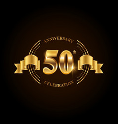 50 years anniversary celebration logotype golden vector image