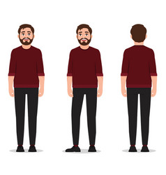 a man with a beard and dressed in a red sweater vector image