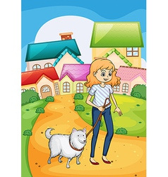 A woman strolling with her dog vector