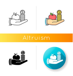 Altruism icon linear black and rgb color styles vector