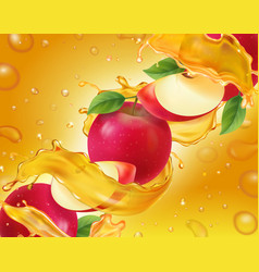 apple fruit in fresh splashig juice realistic vector image