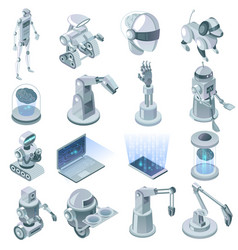Artificial intelligence isometric set vector