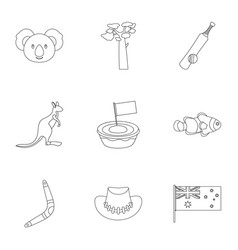 australia icon set outline style vector image
