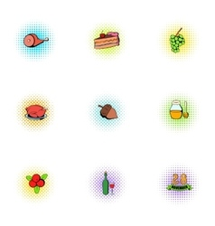 Autumn festival icons set pop-art style vector