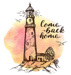 Background with lighthouse vector