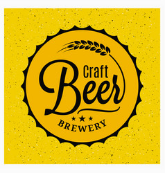 beer cap brewery logo craft beer vintage vector image