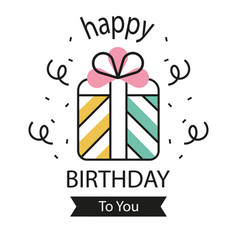 Birthday line card image vector