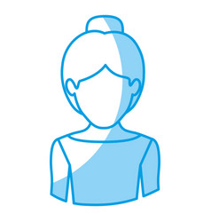 Blue silhouette with half body of faceless female vector