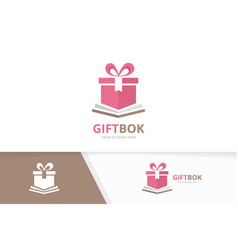 book and gift logo combination present and vector image