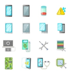 Broken phones fix icons set cartoon style vector