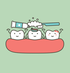 brushing teeth - tooth cleaning their friend vector image