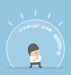 Businessman standing in comfort zone vector