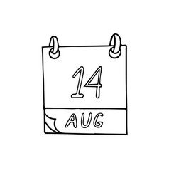 Calendar hand drawn in doodle style august 14 day vector