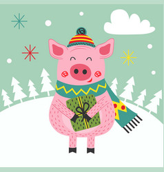 card happy new year of the pig vector image