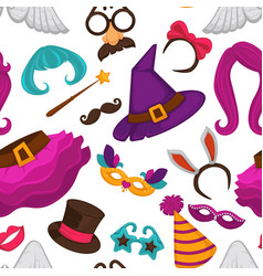 carnival masks and costume accessories seamless vector image
