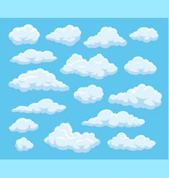 cartoon clouds blue cloudy sky with white vector image