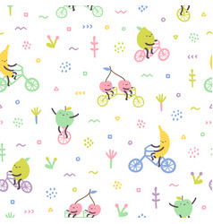 cartoon cute fruits on bicycles vector image