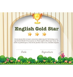 Certification template for english subject vector