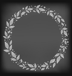 chalkboard with circle frame of white leaves vector image