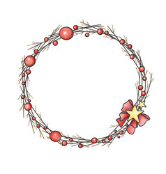 christmas ball wreath with red ribbon and star vector image