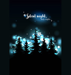 christmas greeting card - silhouettes vector image