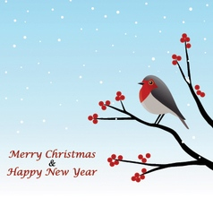 Christmas Greeting Red Robin Sitting On Branch vector