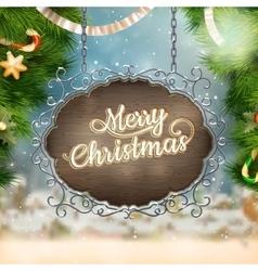 Christmas vintage Signboard EPS 10 vector image