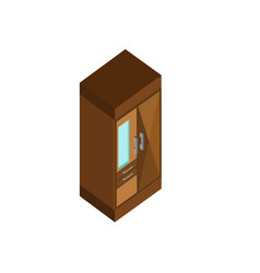 Classic clothing wood cabinet isometric furniture vector