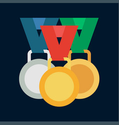 color medal and winner award icon sport vector image