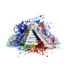 Color of mayan pyramid vector