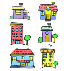 colorful house set art doodles vector image