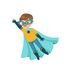 Comic brave kid in blue and yellow superhero vector