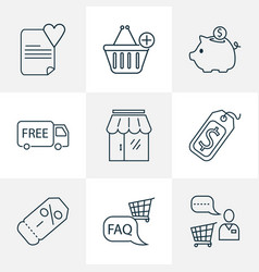 commerce icons line style set with savings vector image
